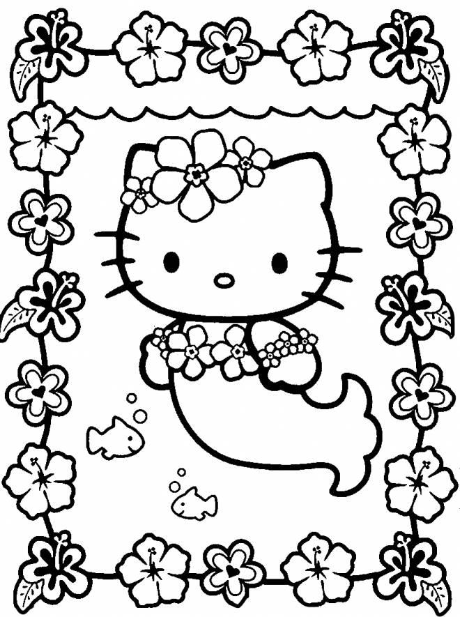 Coloriage et dessins gratuits Hello Kitty Sirène sous l'eau à imprimer