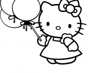 Coloriage dessin  Hello Kitty tient des ballons
