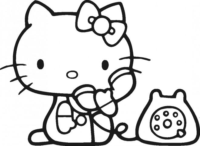 Coloriage et dessins gratuits Minou au Téléphone à imprimer