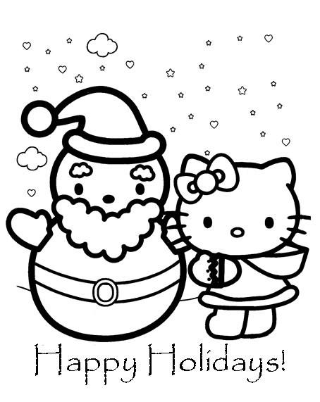 Coloriage et dessins gratuits Minou et Bonhomme de Noel à imprimer