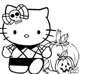 Coloriage Minou et Citrouille d'halloween