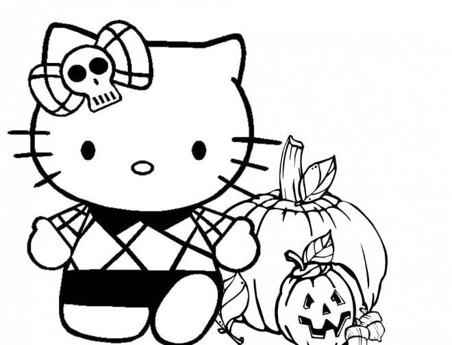 Coloriage et dessins gratuits Minou et Citrouille d'halloween à imprimer