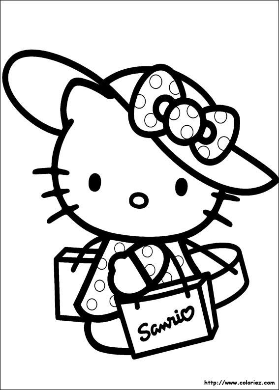Coloriage et dessins gratuits Minou fait de Shopping à imprimer