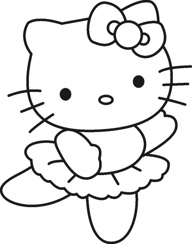 Coloriage et dessins gratuits Minou Hello Kitty danse à imprimer