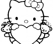 Coloriage et dessins gratuit Minou Hello Kitty facile à imprimer