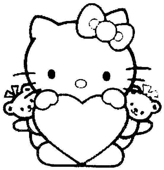 Coloriage et dessins gratuits Minou Hello Kitty facile à imprimer