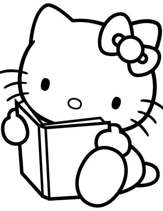 Coloriage et dessins gratuits Minou lit un Livre à imprimer