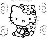 Coloriage Minou porte Une Fleur