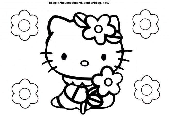 Coloriage et dessins gratuits Minou porte Une Fleur à imprimer