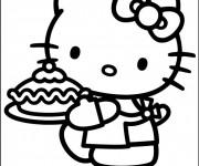 Coloriage Minou prépare Une Tarte