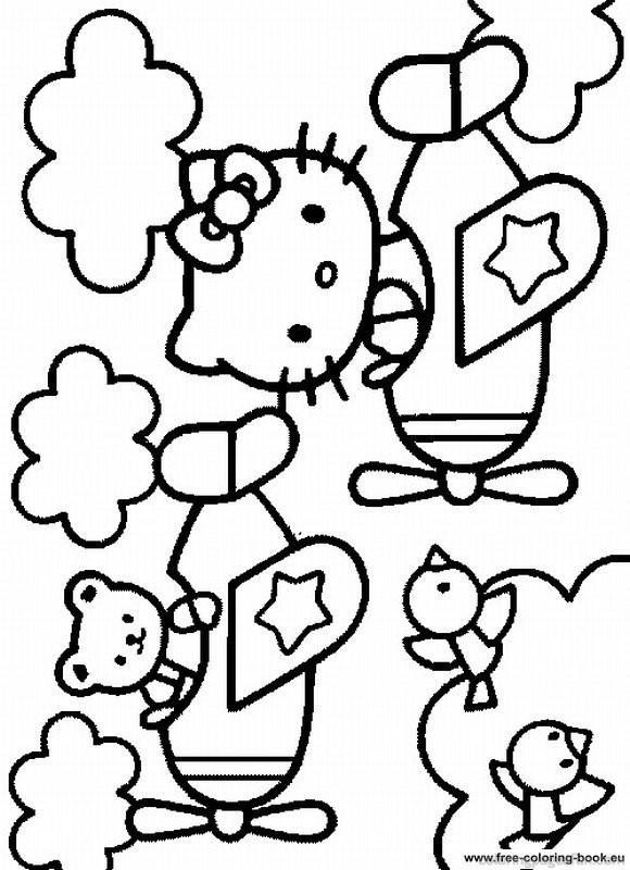 Coloriage et dessins gratuits Minou sur Avion à imprimer