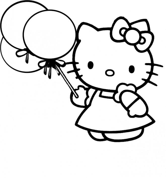 Coloriage et dessins gratuits Minou tient des ballons à imprimer