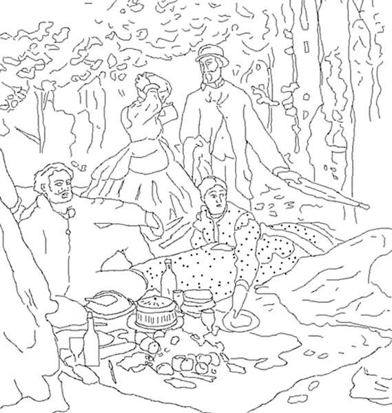 Coloriage et dessins gratuits Monet en noir et blanc à imprimer