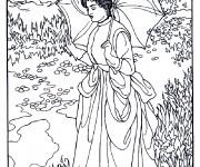 Coloriage et dessins gratuit Monet Femme au jadin à imprimer