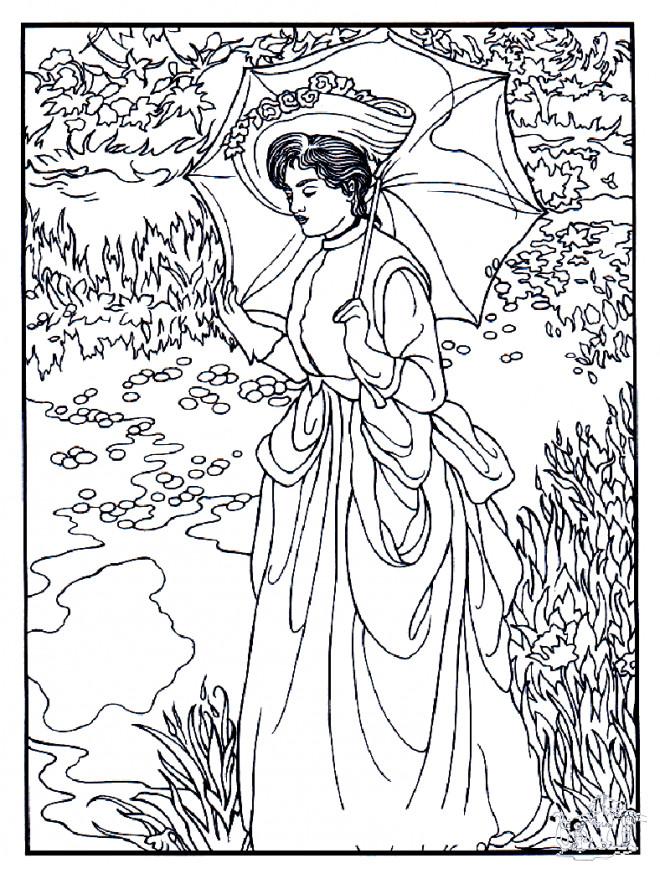 Coloriage et dessins gratuits Monet Femme au jadin à imprimer