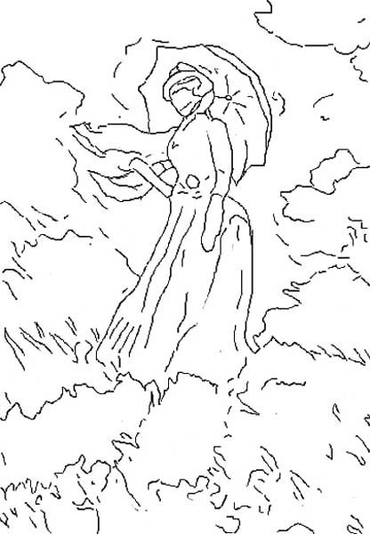 Coloriage et dessins gratuits Monet La promenade à imprimer