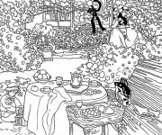 Coloriage et dessins gratuit Monet Tableau Jardin à imprimer