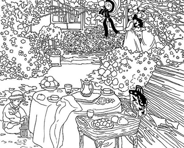 Coloriage et dessins gratuits Monet Tableau Jardin à imprimer