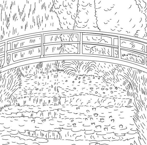 Coloriage et dessins gratuits Paysage de Pont de Claude Monet à imprimer