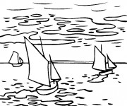 Coloriage et dessins gratuit Tableau de Monet sur La rivière à imprimer