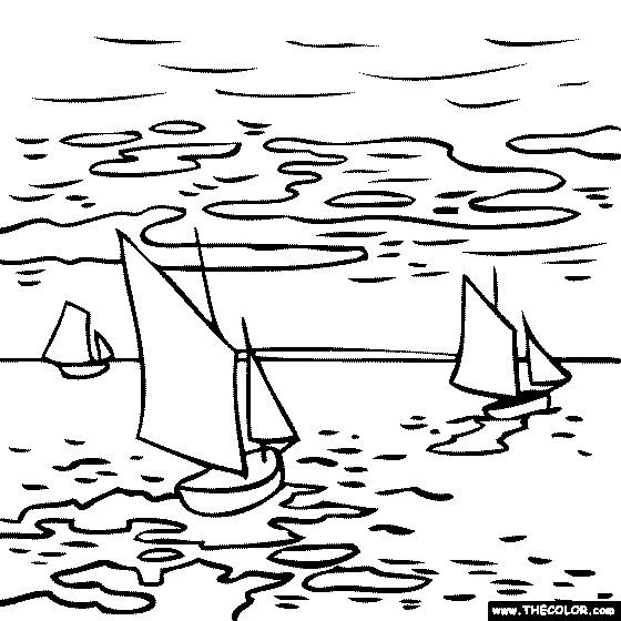 Coloriage et dessins gratuits Tableau de Monet sur La rivière à imprimer