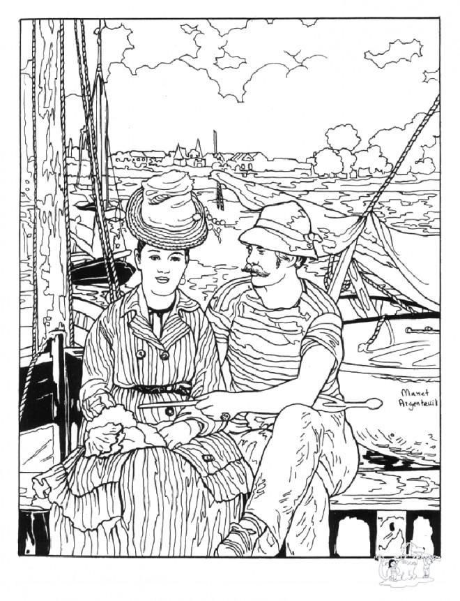 Coloriage et dessins gratuits Tableau Monet en ligne à imprimer