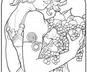 Coloriage et dessins gratuit Tableau Monet Une Femme porte des fruits à imprimer