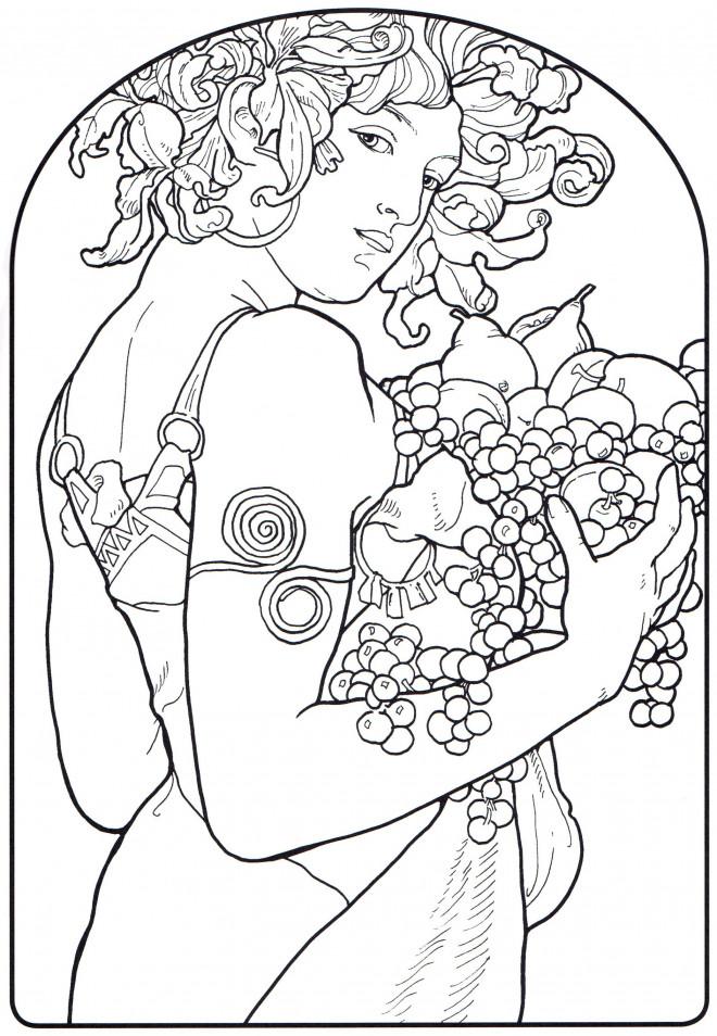 Coloriage et dessins gratuits Tableau Monet Une Femme porte des fruits à imprimer