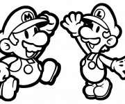 Coloriage Luigi et Mario Super Team