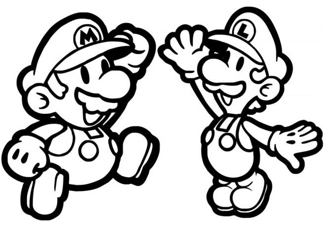Coloriage et dessins gratuits Luigi et Mario Super Team à imprimer