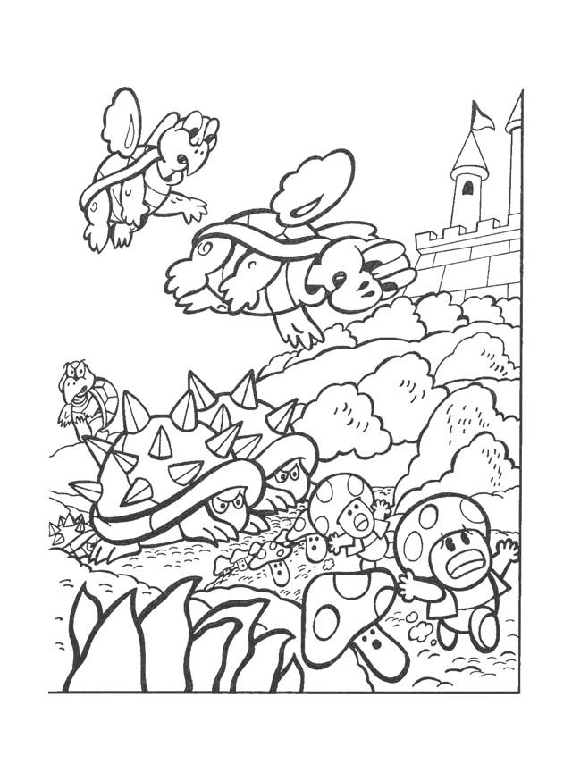 Coloriage et dessins gratuits Nintendo Bowser et Toad à imprimer