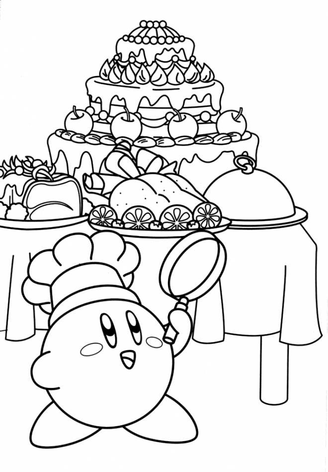 Coloriage et dessins gratuits Nintendo Kirby affamé à imprimer