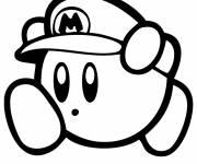Coloriage et dessins gratuit Nintendo Kirby déguisé en Mario à imprimer