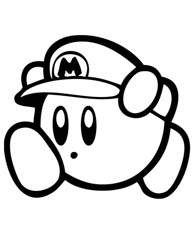 Coloriage et dessins gratuits Nintendo Kirby déguisé en Mario à imprimer