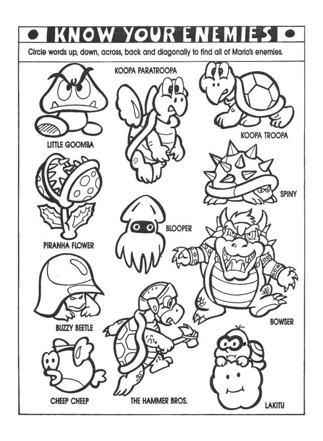 Coloriage et dessins gratuits Nintendo Les Ennemis de Mario à imprimer