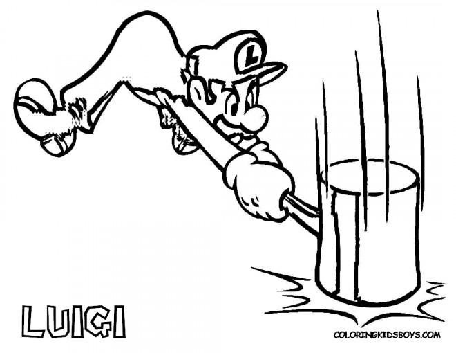Coloriage et dessins gratuits Nintendo Luigi et son marteau à imprimer