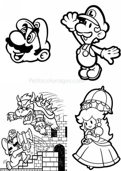 Coloriage et dessins gratuits Nintendo Mario Luigi et Daisy à imprimer
