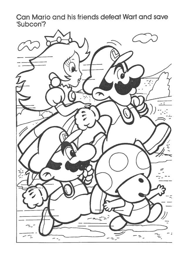 Coloriage et dessins gratuits Nintendo Mario Luigi Wario et Toad à imprimer