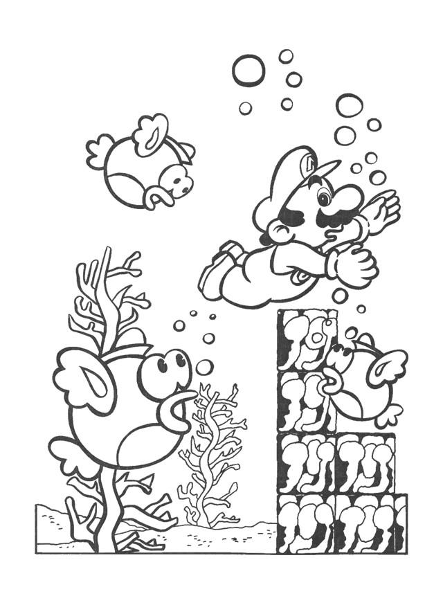 Coloriage et dessins gratuits Nintendo Super Mario dans La Mer à imprimer