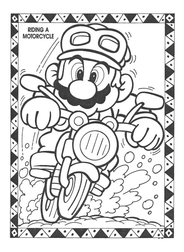 Coloriage et dessins gratuits Nintendo Super Mario sur Moto à imprimer