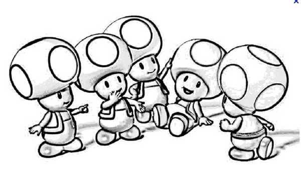Coloriage Nintendo Toad En Noir Et Blanc Dessin Gratuit A Imprimer