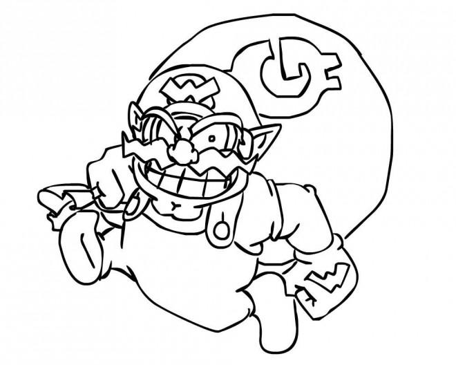 Coloriage et dessins gratuits Nintendo Wario à décorer à imprimer