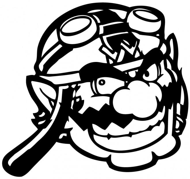 Coloriage et dessins gratuits Nintendo Wario en noir à imprimer