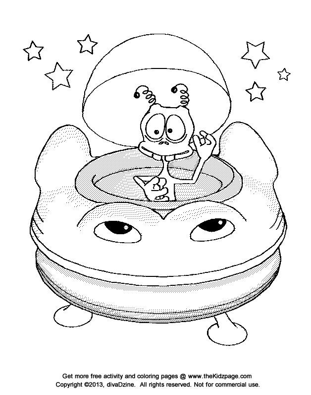 Coloriage et dessins gratuits Extraterrestre dans L'Ovnis à imprimer