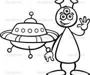 Coloriage et dessins gratuit Extraterrestre te salue à imprimer