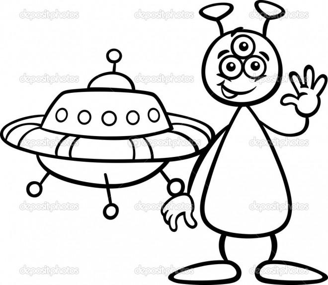 Coloriage et dessins gratuits Extraterrestre te salue à imprimer