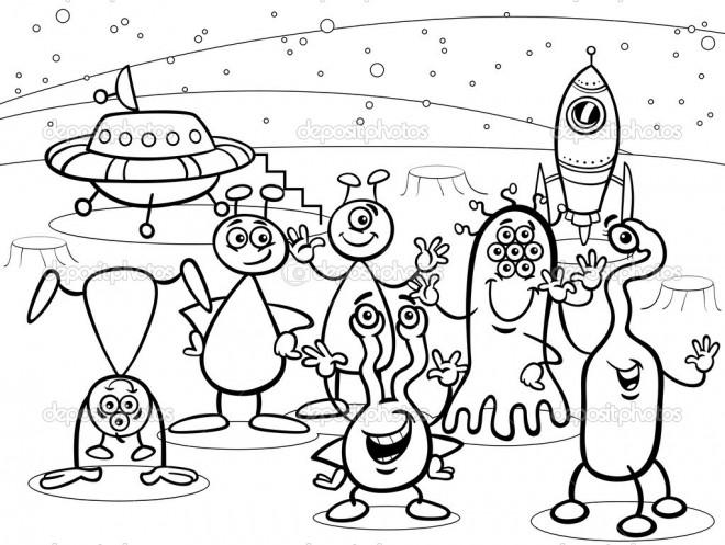 Coloriage et dessins gratuits Ovnis et Aliens Disney à imprimer