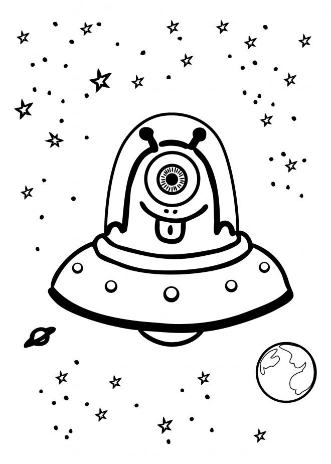 Coloriage et dessins gratuits Ovnis et Extraterrestre comique à imprimer