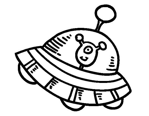 Coloriage et dessins gratuits Ovnis qui porte L'Alien heureux à imprimer