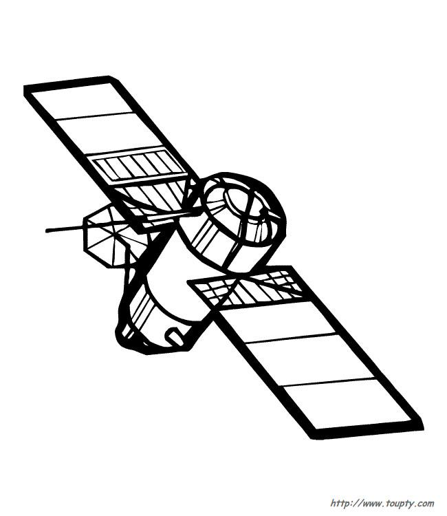 Coloriage et dessins gratuits Un Satellite en noir et Blanc à imprimer